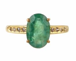 Zlat prstan SMARAGD z diamanti