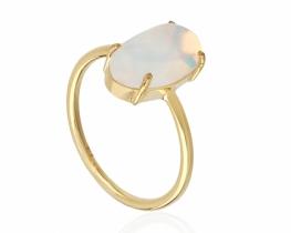 Zlat prstan mavrični opal 7 x 12 mm