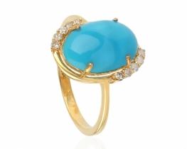 Zlat prstan Allegro turkiz z diamanti