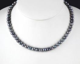 Biserna ogrlica AKOYA - 6,5 mm SREBRNA