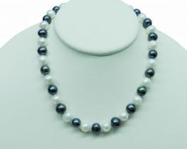 Biserna ogrlica - bela, siva 45 cm