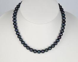 Biserna ogrlica črni biseri 9 mm - 50 cm