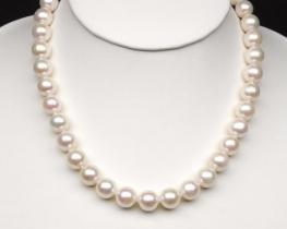 Biserna ogrlica MIRAMAR 9,5 -10,5 mm - srebrna zaponka