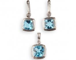 Komplet obesek in uhani NEA - modri topaz z diamanti