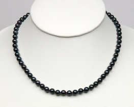 Ogrlica iz črnih morskih biserov Akoya 6,5 mm