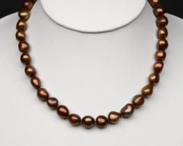 Ogrlica iz zlato rjavih biserov 11mm
