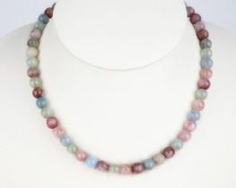 Ogrlica roza smaragd - MORGANIT 8 mm