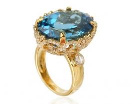 Prstan ADMIRAL BLUE z modrim topazom in diamanti