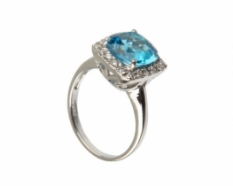 Prstan LOVE BLUE - modri topaz 9 mm
