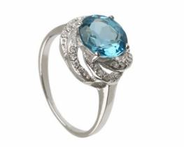 Prstan LOVE BLUE z modrim topazom in cirkoni