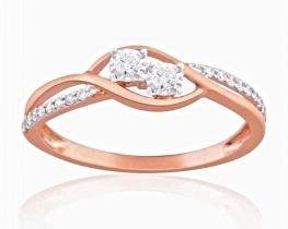Prstan z diamanti TWIN STAR roza zlato