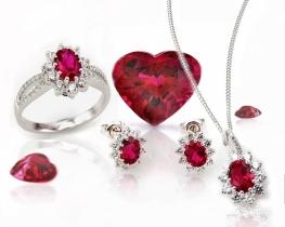 Komplet nakita LOVE BEAM z rubini