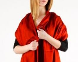 Šal COCOON rdeč - 100 % svila