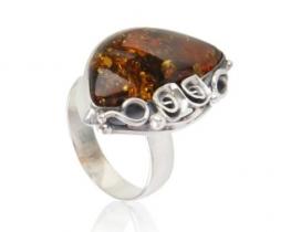 Srebrn prstan AMBER ROSE - CHERRY
