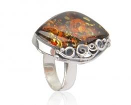 Srebrn prstan AMBER ROSE - CHERRY BROWN