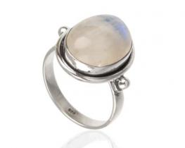 Srebrn prstan ARIES mavrični mesečev kamen