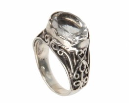 Srebrn prstan BAROK - kamena strela