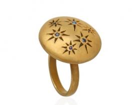 Srebrn prstan DARK STAR - modri safirji