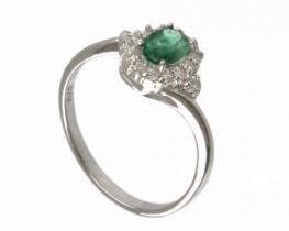 Srebrn prstan z naravnim smaragdom LOVE BEAM