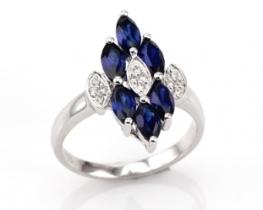 Srebrn prstan LOVE BEAM Markiz z modrimi safirji