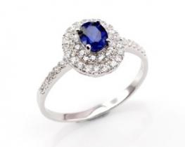 Srebrn prstan LOVE BEAM Miss z modrim safirjem in cirkoni