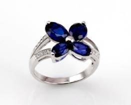 Srebrn prstan LOVE SMILE Papilio - modri safir in cirkoni