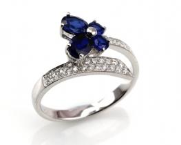 Srebrn prstan LOVE SMILE Blue s safirjem
