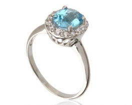 Srebrn prstan LOVE BLUE modri topaz 7 x 9 mm