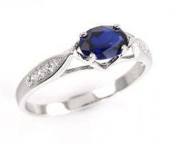 Srebrn prstan LOVE BEAM Crown z modrim safirjem