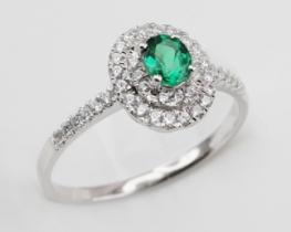 Srebrn prstan LOVE BEAM Miss s smaragdom in cirkoni