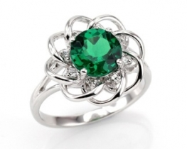 Srebrn prstan LOVE SMILE Green s smaragdom in cirkoni