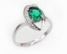 Srebrn prstan LOVE SMILE Green s smaragdom