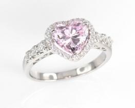 Srebrn prstan LOVE HEART - PINK