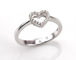 Srebrn prstan LOVE HEART s cirkoni