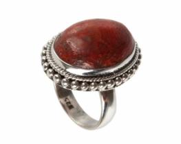 Srebrn prstan MARGO - korala