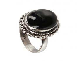 Srebrn prstan MARGO - oniks