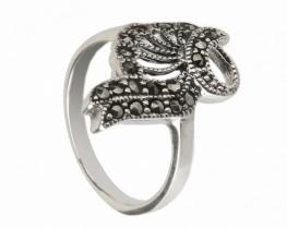 Srebrn prstan PAV z markaziti