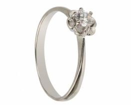 Srebrn prstan mini rožica s cirkonom 4 mm