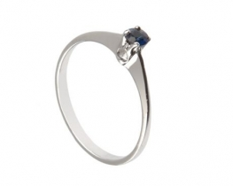 Srebrn prstan Love Beam naravni modri safir 3,7 mm