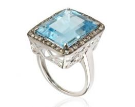 Srebrn prstan SKY BLUE s topazom in diamanti