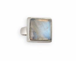 Srebrn prstan MOON SQUARE -13 mm