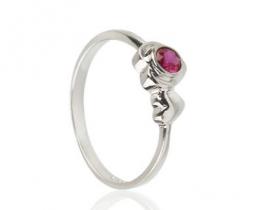 Srebrn prstan MY LOVE RUBY z rubinom