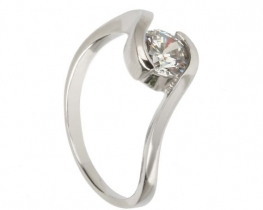 Srebrn prstan OBJEM - cirkon 6 mm
