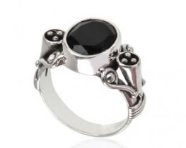 Srebrn prstan PRINCIPESSA - črni spinel
