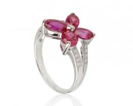 Srebrn prstan LOVE SMILE Papilio - rubin in cirkoni