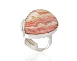 Srebrn prstan  ROSA DEL INCA - rodokrozit 17 x 26 mm