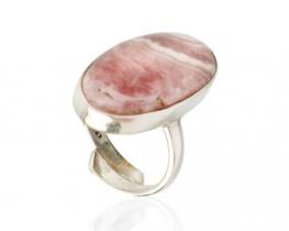 Srebrn prstan  ROSA DEL INCA- rodokrozit 15 x 27 mm