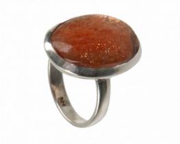 Srebrn prstan SONCE - sončev kamen