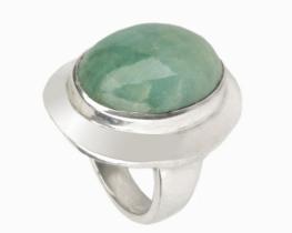 Srebrn prstan z akvamarinom