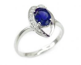 Srebrn prstan LOVE SMILE Blue safir